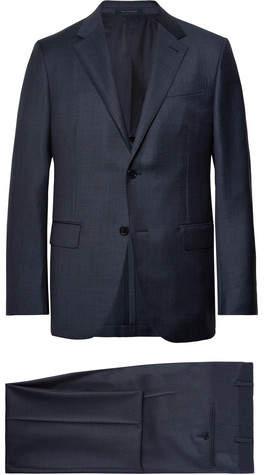 Ermenegildo Zegna Navy Milano Easy Checked Wool Suit