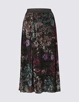 Classic Floral Print Devore A-Line Midi Skirt