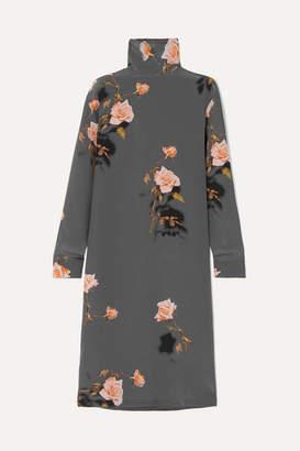 Dries Van Noten Dontisy Floral-print Silk-habotai Midi Dress - Dark gray