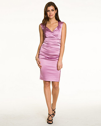 Le Château Pleated Satin V-Neck Cocktail Dress