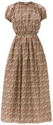 Matteau Gathered Cotton-poplin Maxi Dress - Brown Print