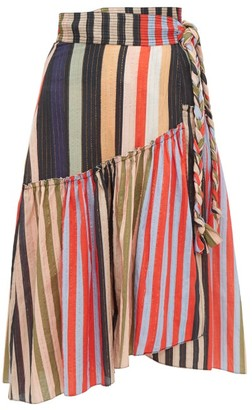 Apiece Apart Iberia Striped Cotton-blend Wrap Skirt - Womens - Multi
