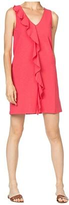 Lilla P Ruffle Front Shift Dress in Flame Modal Stretch (Fiesta) Women's Clothing
