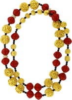 Lotus Arts de Vivre Red Lacquer Prayer Bead Necklace
