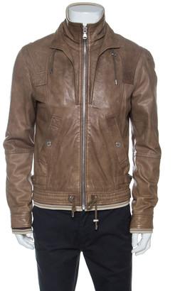 Dolce & Gabbana Brown Leather Rib Knit Trim Bomber Jacket XL