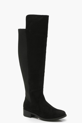 boohoo Extra Wide Fit Elastic Back Flat Over The Knee Boots