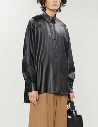Topshop Oversized faux-leather shirt