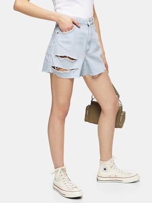 Topshop Ripped Denim Mom Shorts - Blue