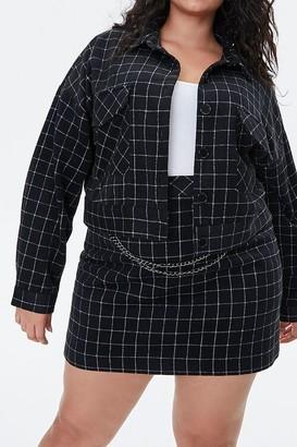 Forever 21 Plus Size Grid Print Mini Skirt