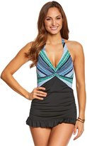 Jantzen Geo Graphic Stripe Halter Swim Dress 8150182