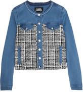 Karl Lagerfeld Denim And Bouclé-tweed Jacket - Mid denim