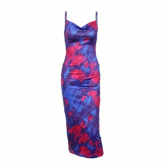 DISSA Women Blue Printing Sleeveless Sheath Dress Backless Slip Dress Sexy Bodycon Midi Dresses Party Cocktail Business D2602a 12