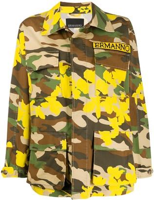 Ermanno Ermanno Camouflage Print Military Jacket