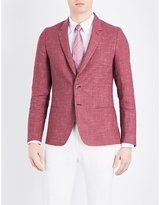 Paul Smith Micro-houndstooth Soho-fit Linen And Wool-blend Jacket