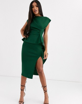 ASOS DESIGN peplum pencil midi dress with tuck detail