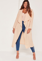 Missguided Plus Size Waterfall Duster Jacket Nude