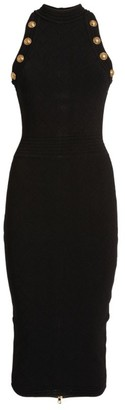 Balmain Diamond-Knit Sleeveless Midi Dress