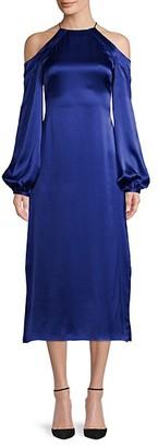 AMUR Cold-Shoulder Silk Halter Dress