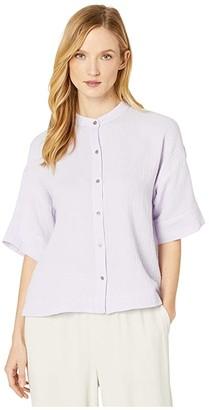 Eileen Fisher Organic Cotton Lofty Guze Mandarin Collar Elbow Sleeve Boxy Shirt (Wisteria) Women's Clothing