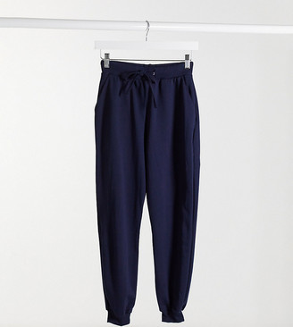 ASOS DESIGN Petite basic jogger with tie in organic cotton in navy