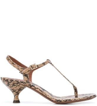 L'Autre Chose Snakeskin Effect Thong Strap Sandals