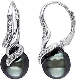 Black Diamond Sofia B Women's Earrings Black - Diamond & Black Cultured Pearl Sterling Silver Twist Leverback Earrings