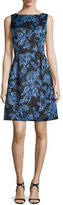Lela Rose Betsy Full-Skirt Sheath Dress, Blue