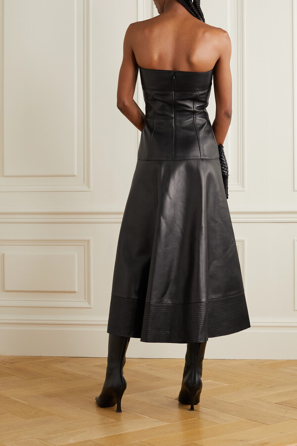 Thumbnail for your product : Valentino Strapless Leather Midi Dress - Black