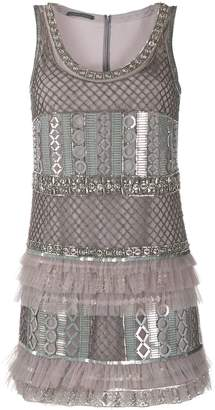 Alberta Ferretti ruffled metal-embellished dress