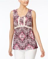 NY Collection Petite Printed Crochet-Trim Top