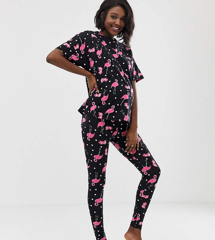 DESIGN Maternity flamingo spot legging pyjama set