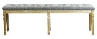 Overstock Lux Home Christies Oversized 6 Leg 62-inch Beige/ Grey Linen Weathered French Bench