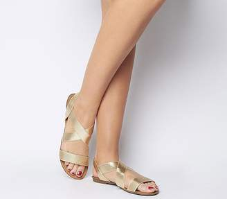 Office Orbit Elastic Strap Sandals Gold Glitter Elastic