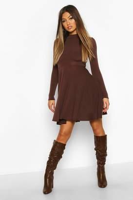 boohoo Soft Knit High Neck Long Sleeve Skater Dress
