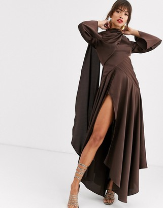 Asos Design DESIGN midaxi dress in satin with drape neck and cut out
