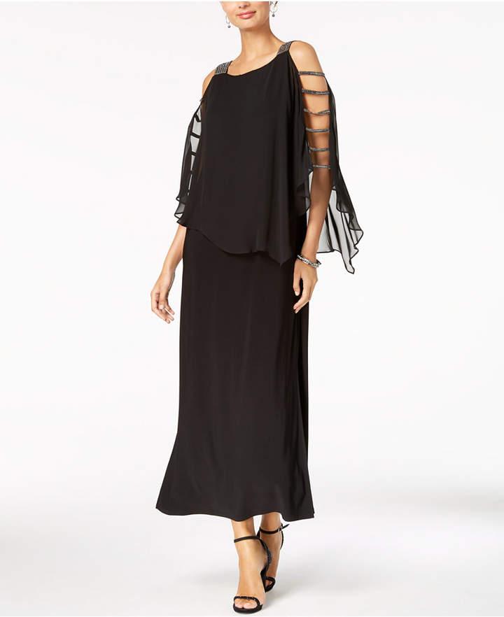 MSK Embellished Lattice-Sleeve Gown