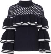 Self-Portrait Self Portrait Open-Knit Wool and Cotton-Blend Sweater
