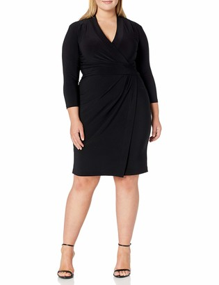 Anne Klein Women's Plus Size Solid ITY V Neck WRAP Dress