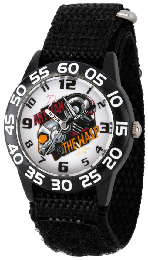 EWatchFactory Boy Marvel Ant-Man And The Wasp Black Plastic Time Teacher Strap Watch 32mm
