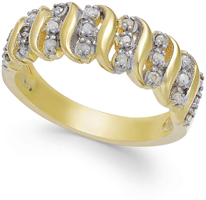 """Townsend Victoria Rose-Cut Diamond """"S"""" Ring in 18k Gold Over Sterling Silver or Sterling Silver (1/4 ct. t.w.)"""