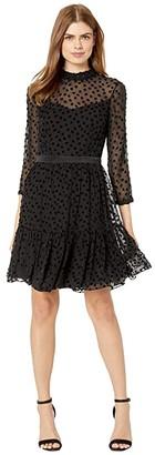 Rebecca Taylor Long Sleeve Velvet Dot Dress (Black) Women's Clothing