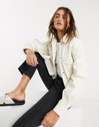 Bershka faux leather shacket with removable tie waist in ecru