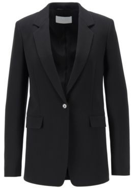 HUGO BOSS Relaxed Fit Jacket In Crease Resistant Crepe With Stretch - Black