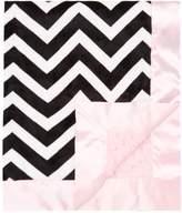 "MyBlankee My Blankee Chevron Minky Black/White w/ Minky Dot Pink Baby Blanket, 30"" x 35"""