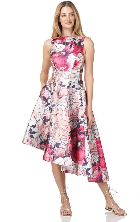 Thumbnail for your product : Kay Unger Floral Print Asymmetrical Hem Mikado Dress
