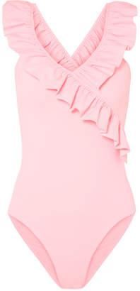 Maje Ruffle-trimmed Stretch-jersey Bodysuit - Pink