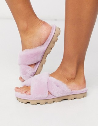 UGG Fuzzette cross strap fluffy slippers in pink