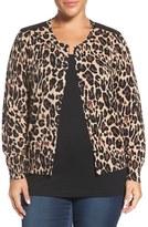 Foxcroft Plus Size Women's Animal Print Cotton Cardigan