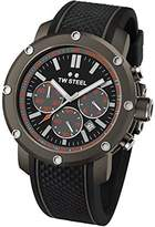 TW Steel Men's Quartz Watch with Black Dial Chronograph Display and Black Silicone Strap TS4