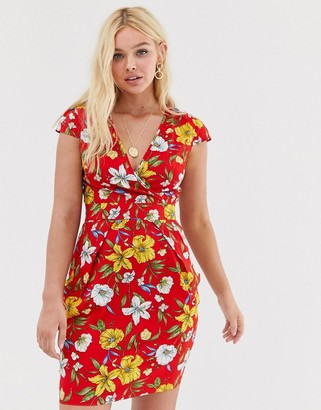 Qed London QED London wrap front tulip dress-Multi